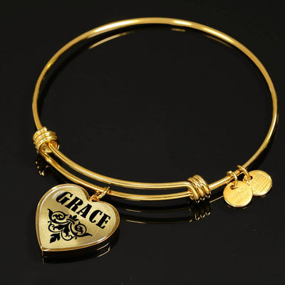 Grace v01 - 18k Gold Finished Heart Pendant Bangle Bracelet