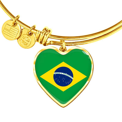 Brazilian Flag - 18k Gold Finished Heart Pendant Bangle Bracelet