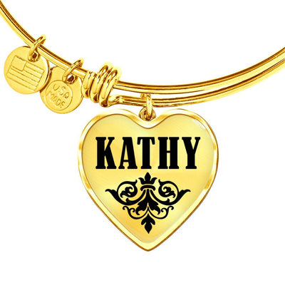 Kathy v01 - 18k Gold Finished Heart Pendant Bangle Bracelet