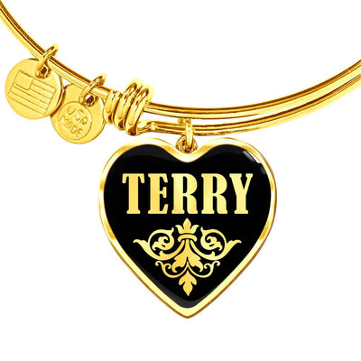 Terry v02 - 18k Gold Finished Heart Pendant Bangle Bracelet