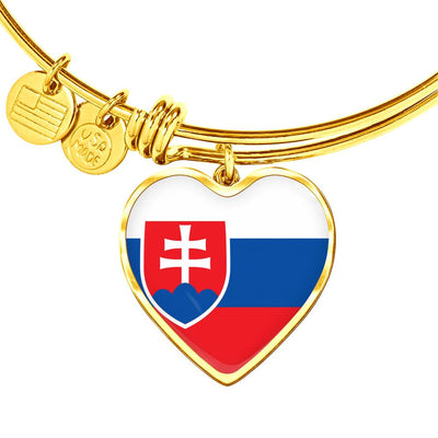 Slovak Flag - 18k Gold Finished Heart Pendant Bangle Bracelet