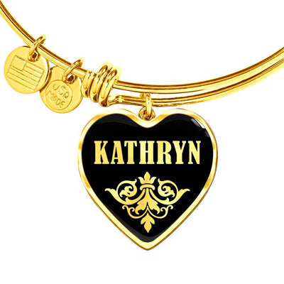 Kathryn v02 - 18k Gold Finished Heart Pendant Bangle Bracelet
