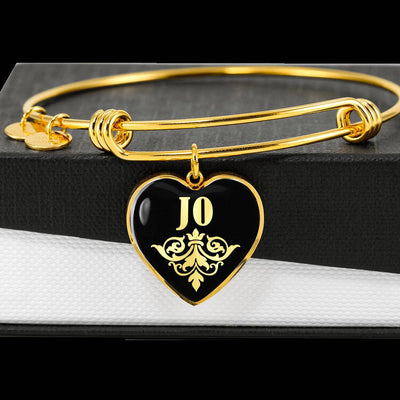 Jo v02 - 18k Gold Finished Heart Pendant Bangle Bracelet