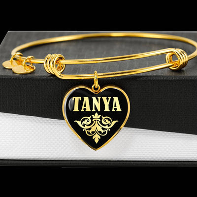 Tanya v02 - 18k Gold Finished Heart Pendant Bangle Bracelet