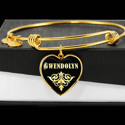 Gwendolyn v02 - 18k Gold Finished Heart Pendant Bangle Bracelet