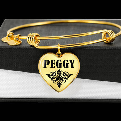 Peggy v01 - 18k Gold Finished Heart Pendant Bangle Bracelet