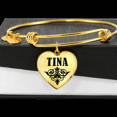Tina v01 - 18k Gold Finished Heart Pendant Bangle Bracelet
