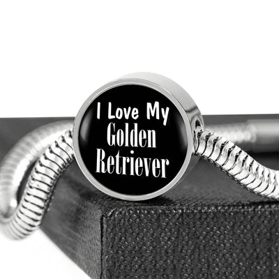 Love My Golden Retriever v2 - Luxury Charm Bracelet