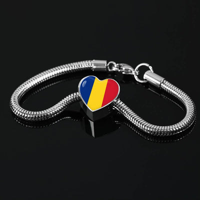 Romanian Flag - Luxury Heart Charm Bracelet