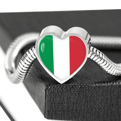 Italian Flag - Luxury Heart Charm Bracelet