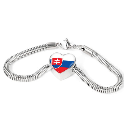Slovak Flag - Luxury Heart Charm Bracelet