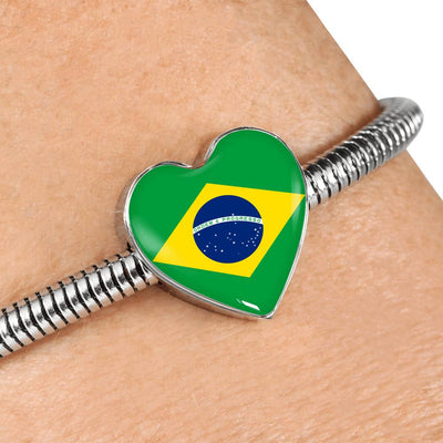 Brazilian Flag - Luxury Heart Charm Bracelet