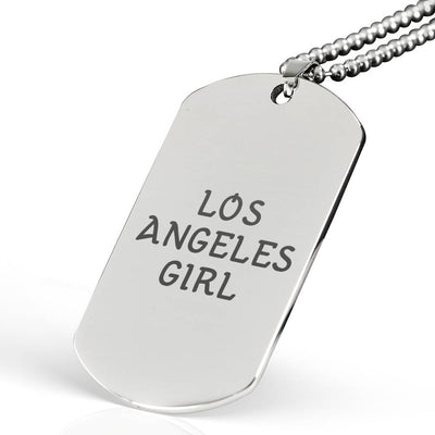 Los Angeles Girl - Laser Engraved Dog Tag Necklace