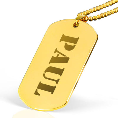 Paul - 18k Gold Finished Laser Engraved Dog Tag Necklace