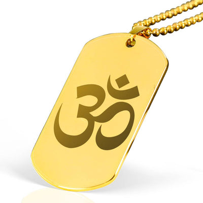 Om Symbol - 18k Gold Finished Laser Engraved Dog Tag Necklace