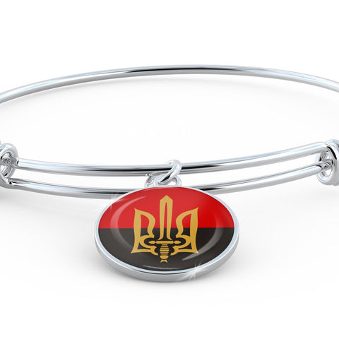 Stylized Tryzub And Red-Black Flag - Bangle Bracelet - Unique Gifts Store