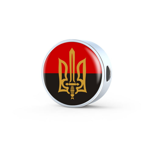 Stylized Tryzub And Red-Black Flag - Luxury Charm