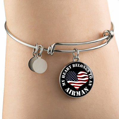 My Heart Belongs To An Airman - Bangle Bracelet
