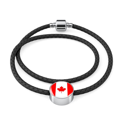 Canadian Flag - Double-Braided Leather Charm Bracelet