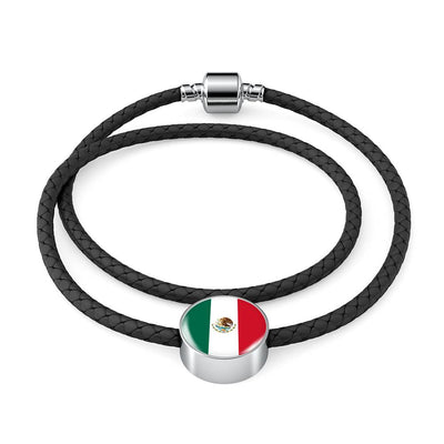 Mexican Flag - Double-Braided Leather Charm Bracelet