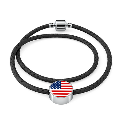 American Flag - Double-Braided Leather Charm Bracelet