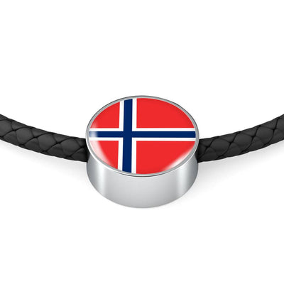 Norwegian Flag - Double-Braided Leather Charm Bracelet
