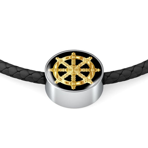 Golden Dharma Wheel - Double-Braided Leather Charm Bracelet