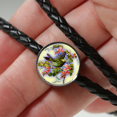 Bird And Flowers - Double-Braided Leather Charm Bracelet
