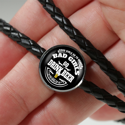 Bad Girls Drink Beer - Double-Braided Leather Charm Bracelet