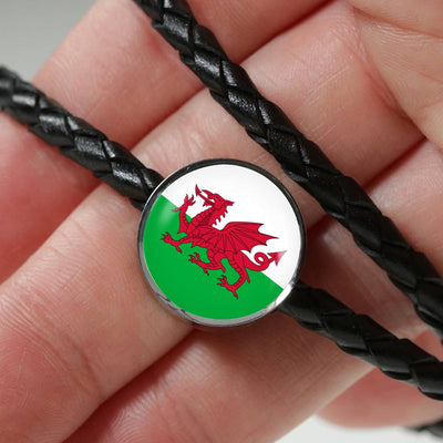Welsh Flag - Double-Braided Leather Charm Bracelet