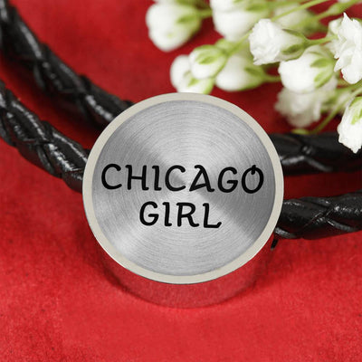 Chicago Girl v2 - Double-Braided Leather Charm Bracelet