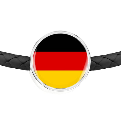 German Flag - Double-Braided Leather Charm Bracelet