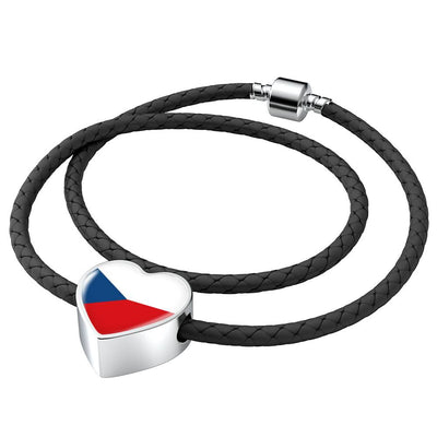 Czech Flag - Double-Braided Leather Heart Charm Bracelet