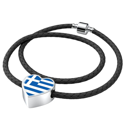 Greek Flag - Double-Braided Leather Heart Charm Bracelet