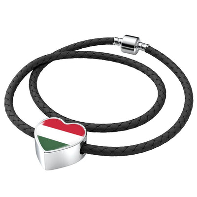 Hungarian Flag - Double-Braided Leather Heart Charm Bracelet