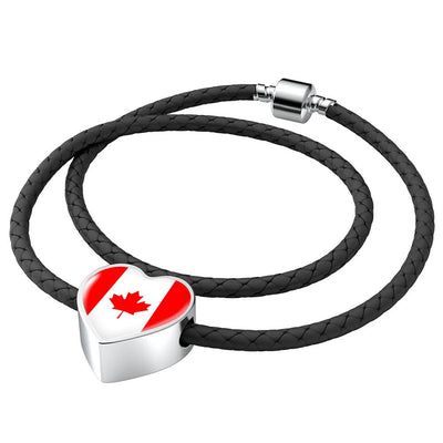 Canadian Flag - Double-Braided Leather Heart Charm Bracelet