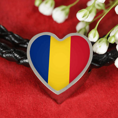 Romanian Flag - Double-Braided Leather Heart Charm Bracelet