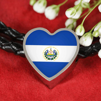 Salvadoran Flag - Double-Braided Leather Heart Charm Bracelet