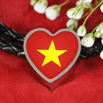 Vietnamese Flag - Double-Braided Leather Heart Charm Bracelet