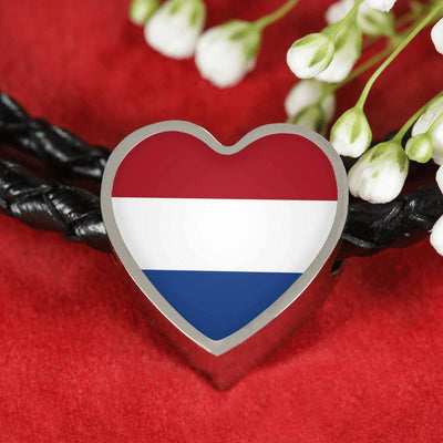 Dutch Flag - Double-Braided Leather Heart Charm Bracelet