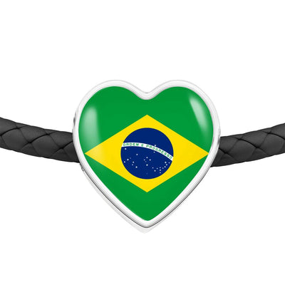Brazilian Flag - Double-Braided Leather Heart Charm Bracelet