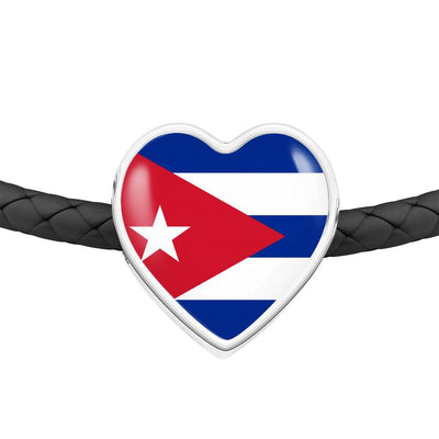 Cuban Flag - Double-Braided Leather Heart Charm Bracelet