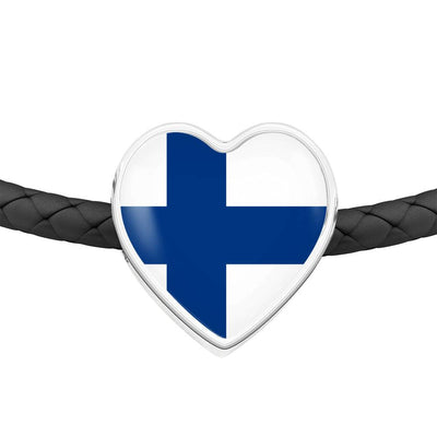 Finnish Flag - Double-Braided Leather Heart Charm Bracelet