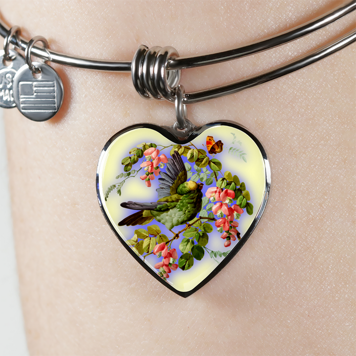 Bird And Flowers - Heart Pendant Bangle Bracelet