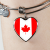 Canadian Flag - Heart Pendant Bangle Bracelet