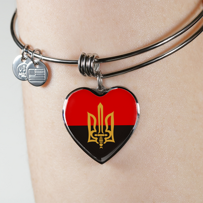 Stylized Tryzub And Red-Black Flag - Heart Pendant Bangle Bracelet