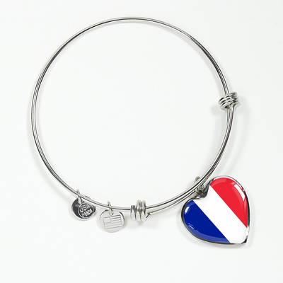 French Flag - Heart Pendant Bangle Bracelet