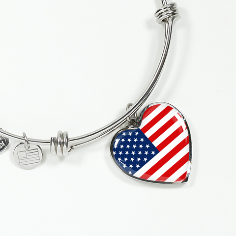 American Pride - Heart Pendant Bangle Bracelet