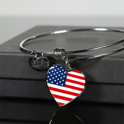 American Flag - Heart Pendant Bangle Bracelet