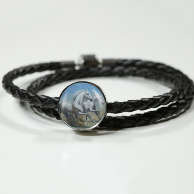 Running Horses - Double-Braided Leather Charm Bracelet